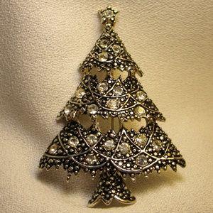 Anne Klein Silver/CZ Christmas Tree Brooch